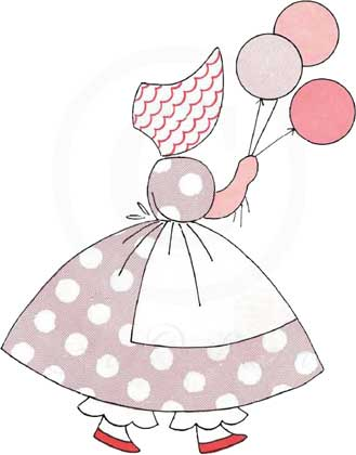 Little Balloon Girl - Sunbonnet Sue Applique Pattern