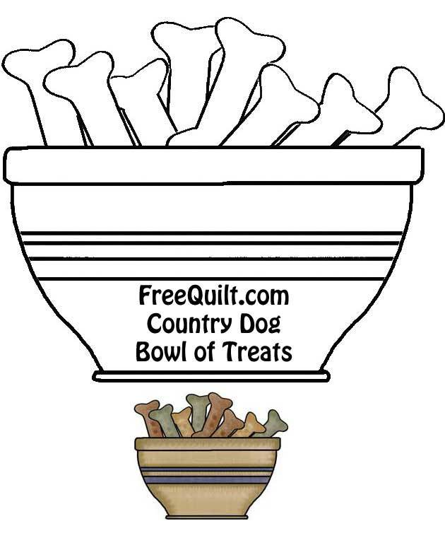 Bowl of Dog Bones Template - Dog Bone Line Art