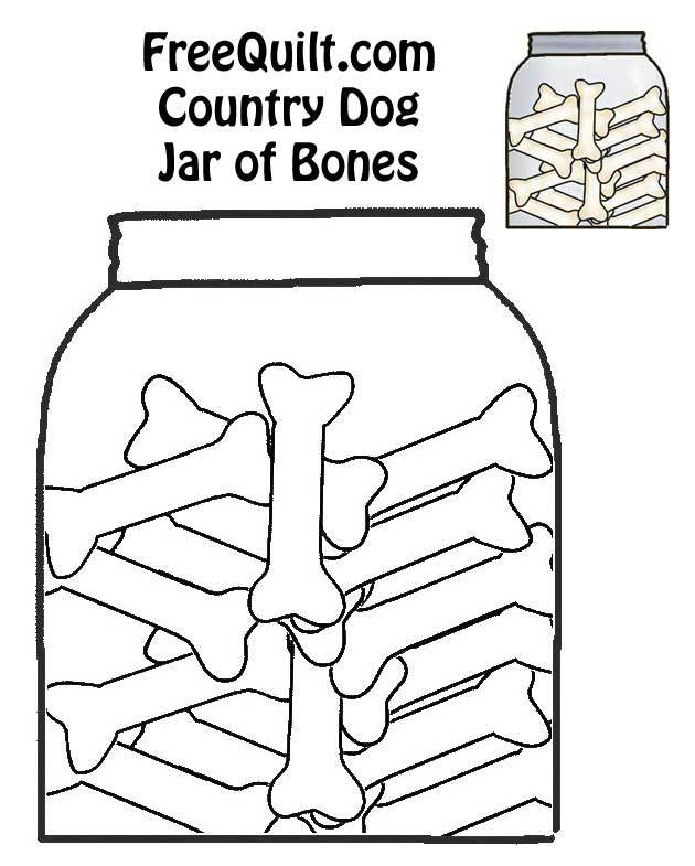 Dog Bones in a Jar - Dog Bone Outline in Black & White