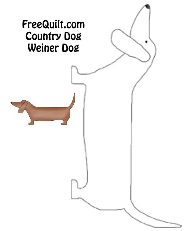 Country Dog Applique Weiner Dog Pattern For Printing