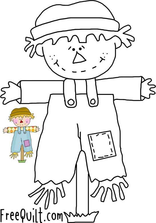 Scarecrow Line Drawing - Fall Applique Designs