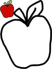 Apple Printable - Apple Line Drawing for Fall Quilt Pattern