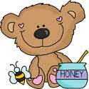 Honey Bear with honey Pot
