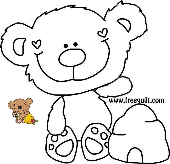 Teddy Bear Outline with Beehive & Bee – Honey Bear Template