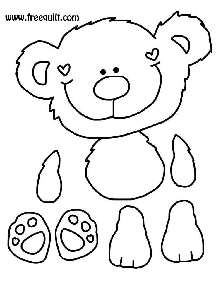 ... return back to the honey bear page bear pattern with pieces separated