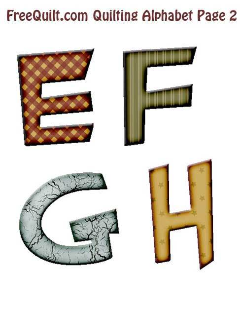 Printable Letters E, F, G, H – for Sewing, Templates