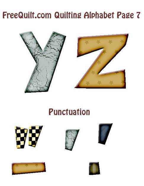 Applique Template for Letters Y & Z, Applique Pattern