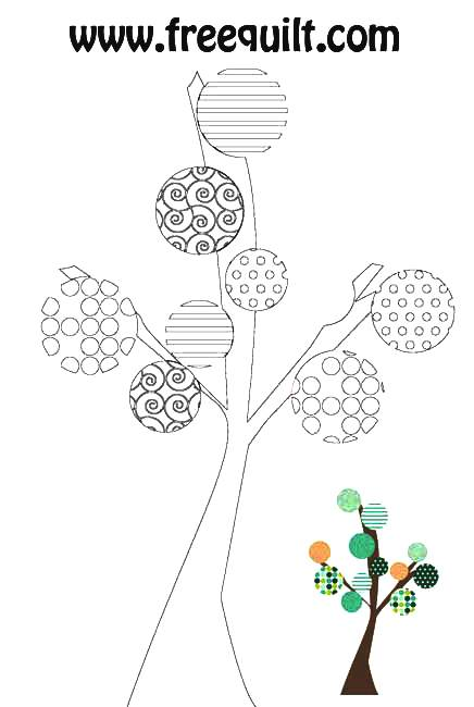 Tree Outline - Trees Made With Circles - Craft Template