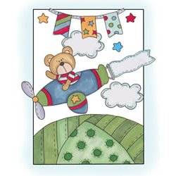 Bear in an Airplane Quilt Pattern
