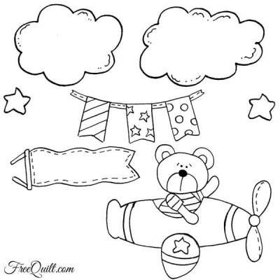 Bear In an Airplane applique pattern