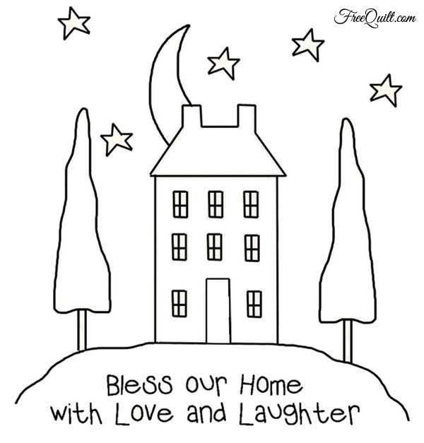 Stitchery Pattern - Bless Our Home With Love & Laughter