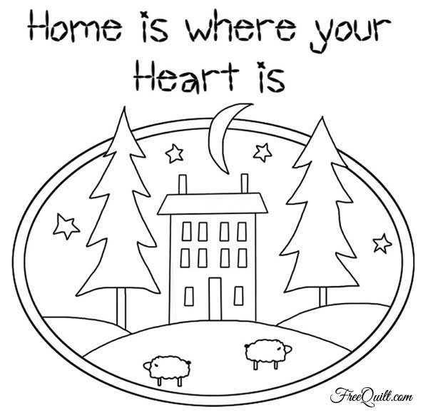 Line Art Home : Home is where your heart wall hanging quilt pattern