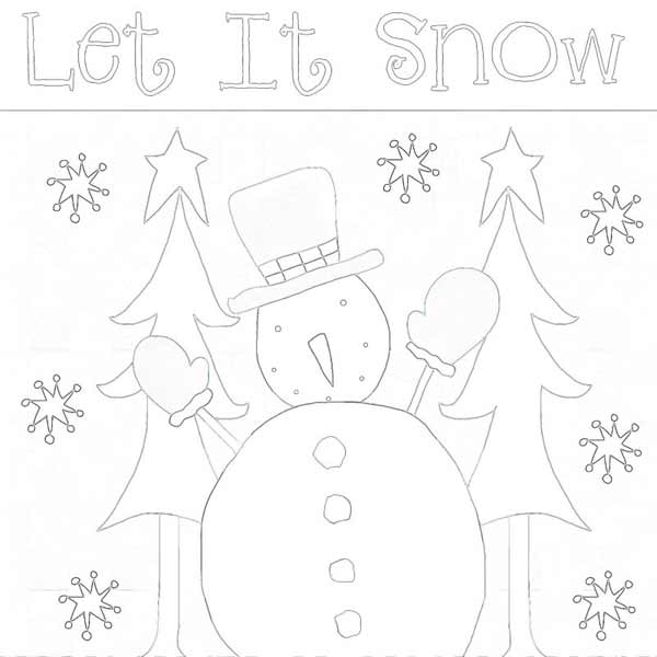 Snowman Line Drawing - Outline - Snowman Scene Wall Hanging