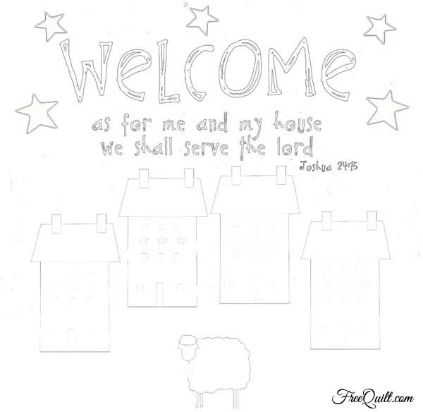 Primitive Welcome Pattern - Quilted Wall Hanging – Bible Verse