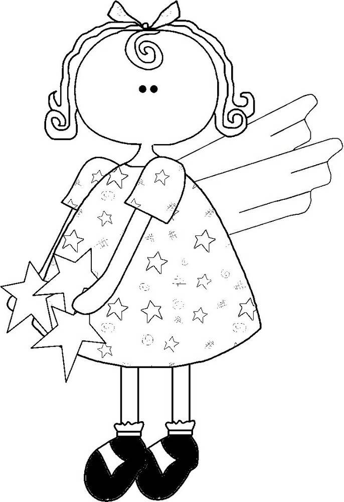 Angel Outline - Black and White Star Angel Line Art