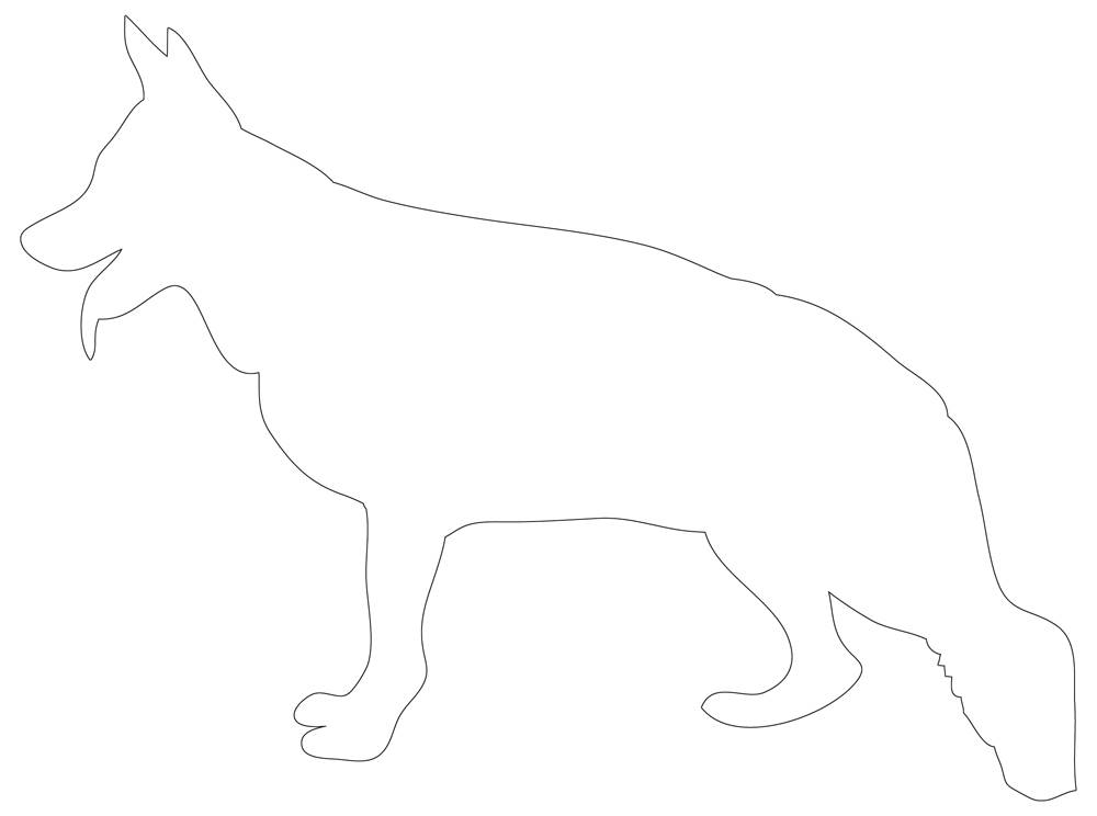 German Shepherd Coloring Pages, Stencil, Outline