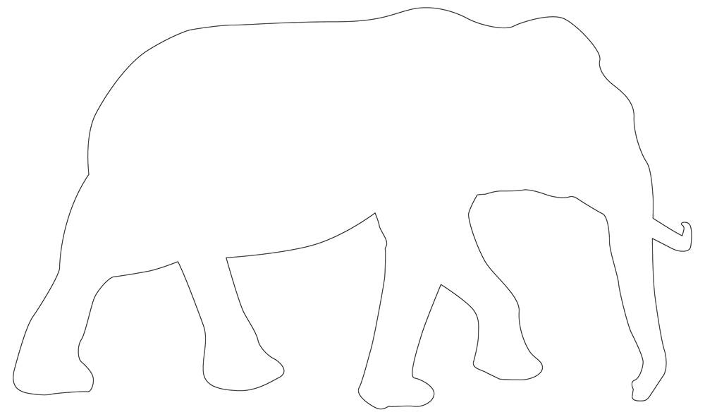 Asian Elephant Outline