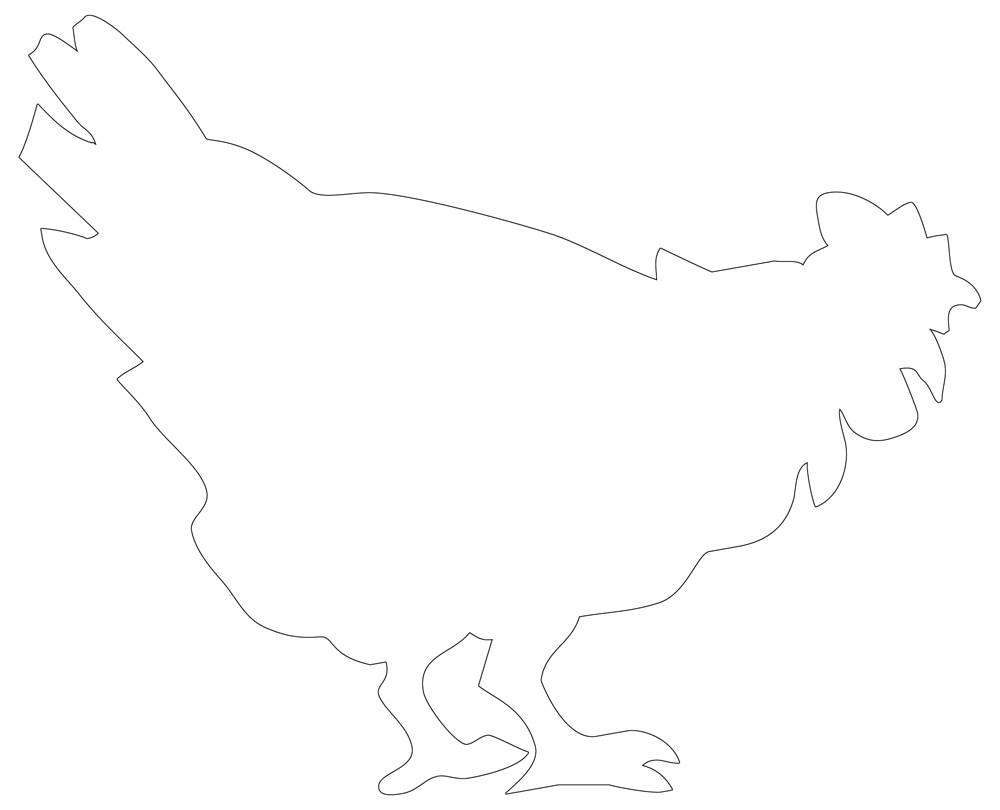 Rooster Outline - Simple Chicken Line Drawing