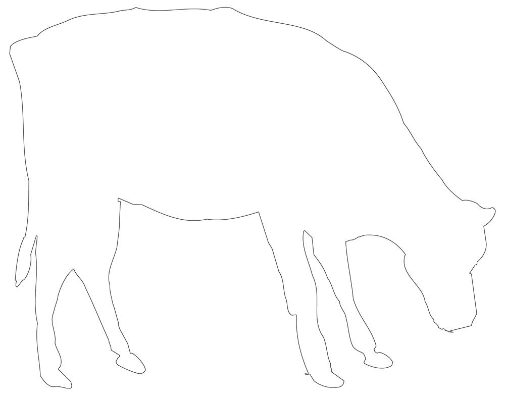 Cow Outline - Black & White Line Art to download or print