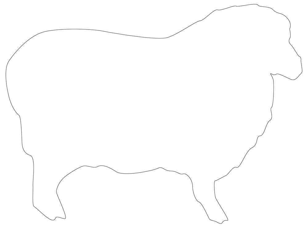 Sheep  Outline - Simple Sheep Line Drawing