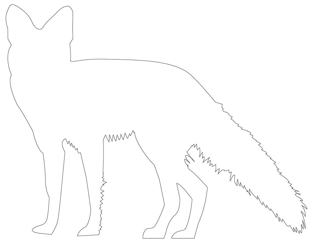 Fox Outline, Template | Free Fox Coloring Page