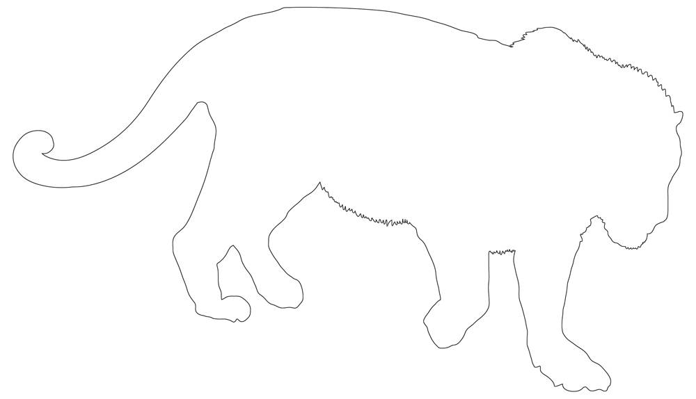 Lion Hunting Outline - Lion Drawing in Black & White