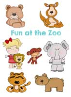 Animals in a Zoo Applique