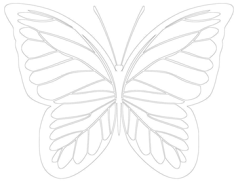 Butterfly Coloring Page, Applique Pattern, Line Art