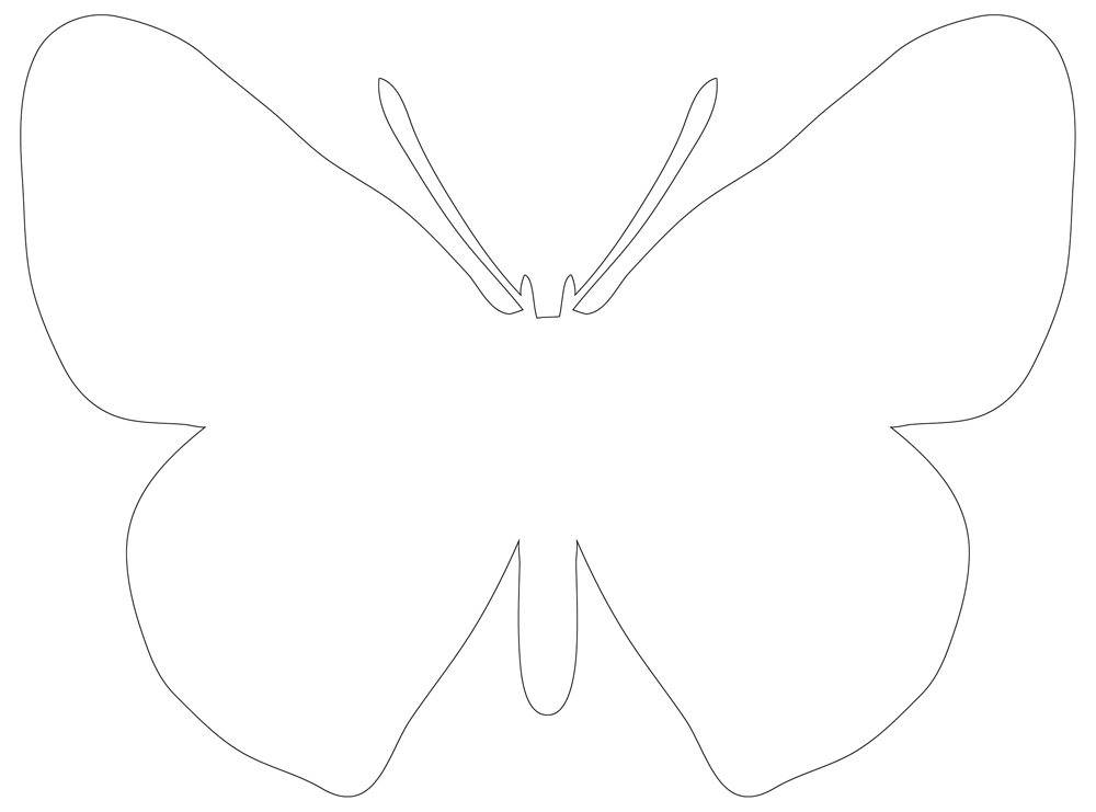 Butterfly Outline with Large Wings, Black & White