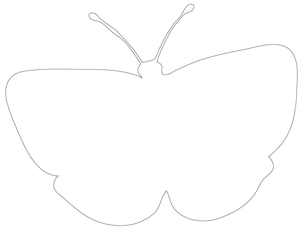 Simple Butterfly Outline or Applique Pattern