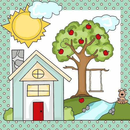 Country Living Applique Pattern - House, Apple Tree with Swing