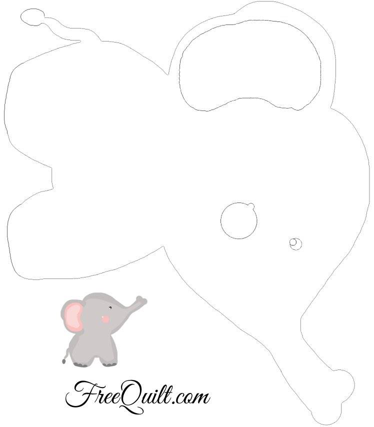 photo regarding Elephant Outline Printable titled Child Elephant Define - Printable Elephant Applique Template