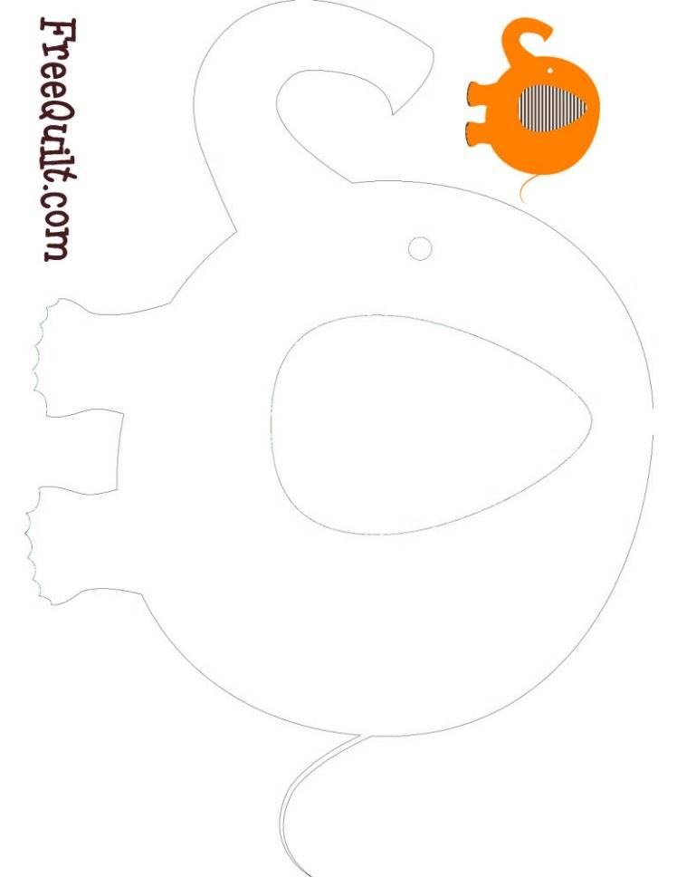 Elephant Outline - Elephant Applique Template - Tail Train