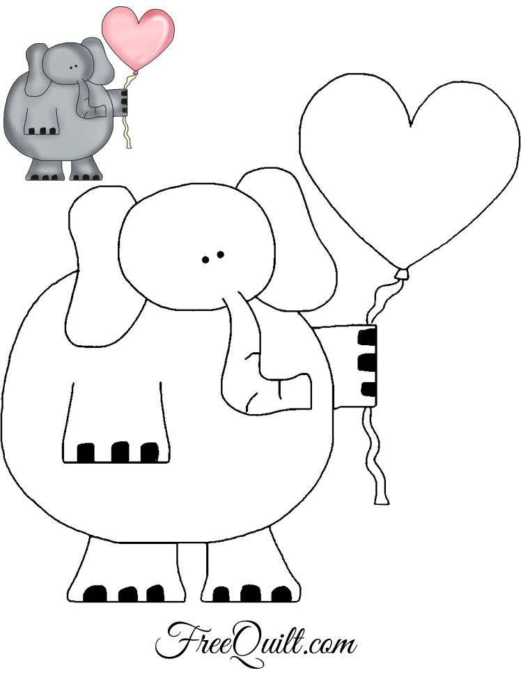 Elephant Outline with Heart Balloon - Applique Pattern