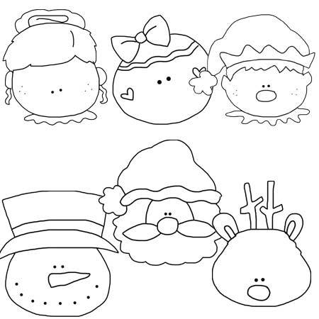 Christmas Faces Line Drawings