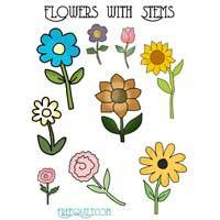 Flowers with Stems Applique