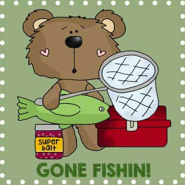 Bears Gone Fishing Pattern Line Art Applique Pattern