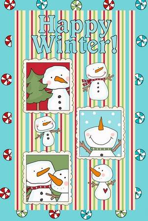 Happy Winter Goofy Snowmen Applique Patterns