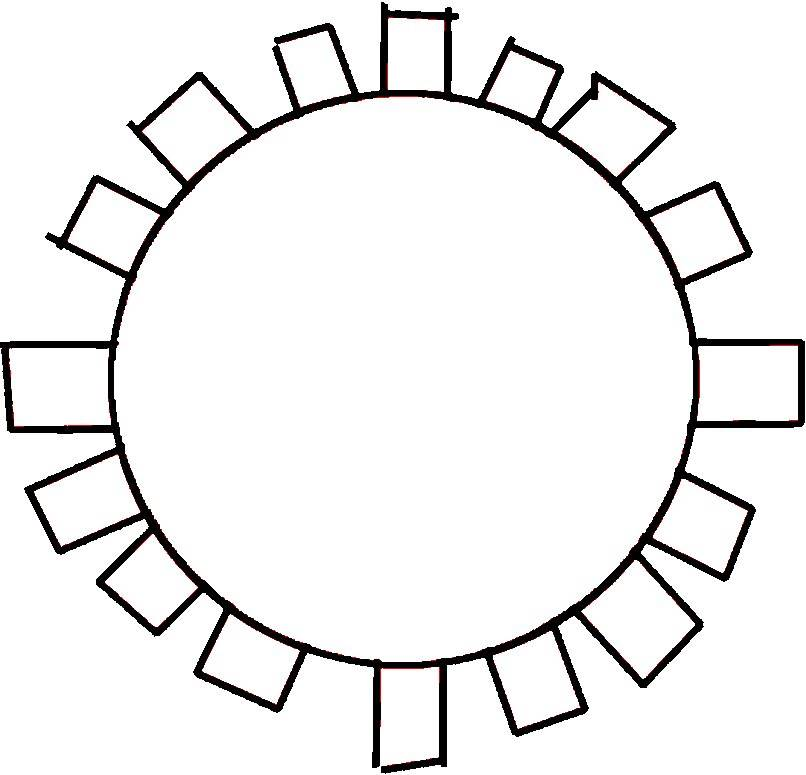 Sun Applique- Line Art - Printable Sun Template