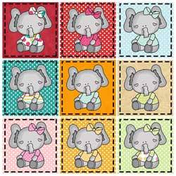 Little Sitting Elephant Pattern