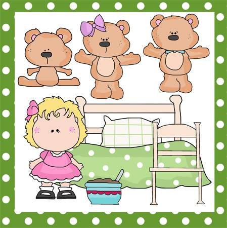 Goldilocks and the Three Bears line art at FreeQuilt.com