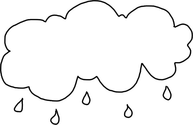 Cloud with Rain Template - Printable Rain Cloud Outline