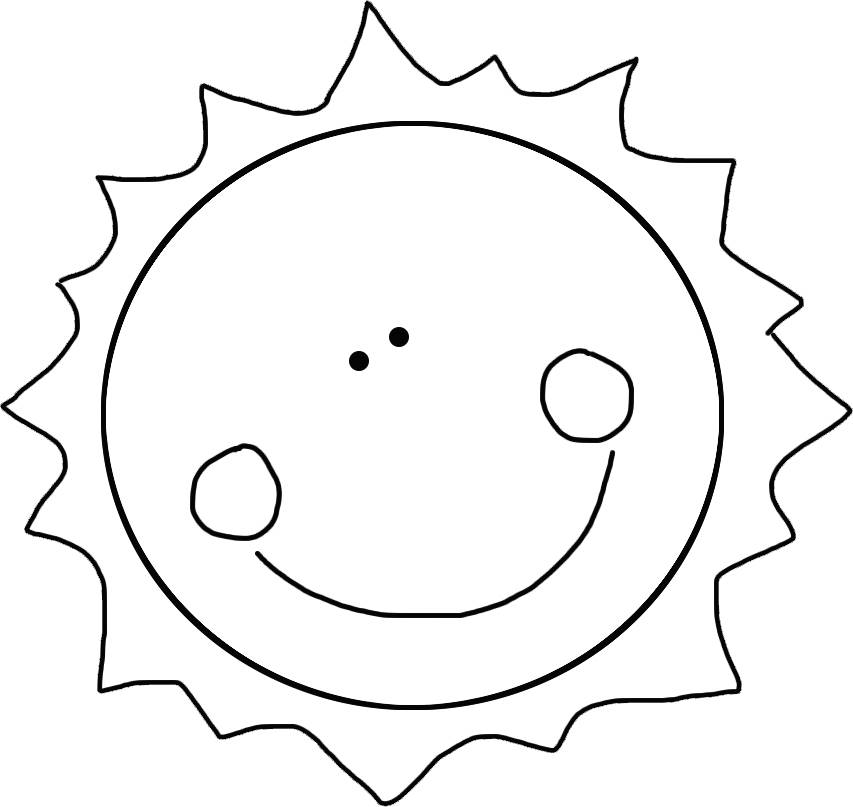photograph regarding Sun Stencil Printable named Solar Template Totally free Printable Smiling, Delighted Solar Line Artwork
