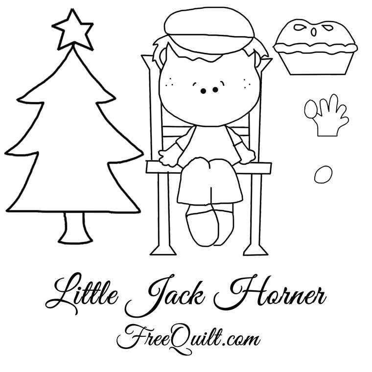 Little Jack Horner Clip Art - Black & White Template, Free