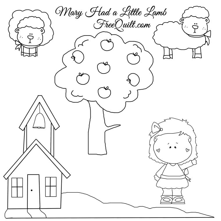 Mary Had A Little Lamb Clipart Click On Printable Line Drawings Below
