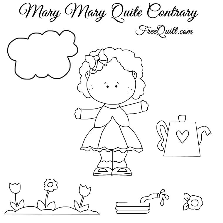 Mary Mary Quite Contrary - Applique Pattern, Line Drawings