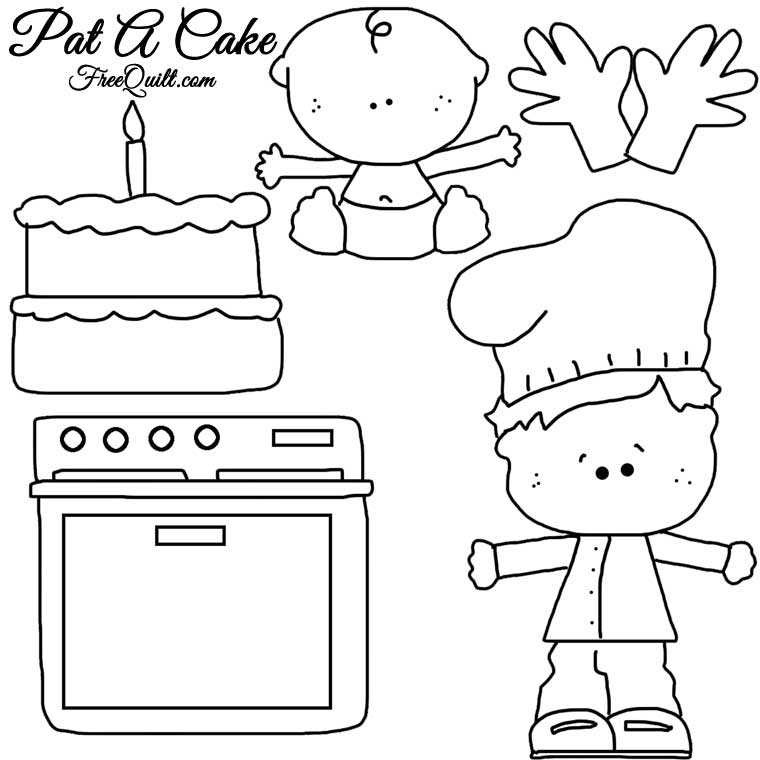 Nursery Rhyme of Pat-A-Cake - Line Drawings of Characters