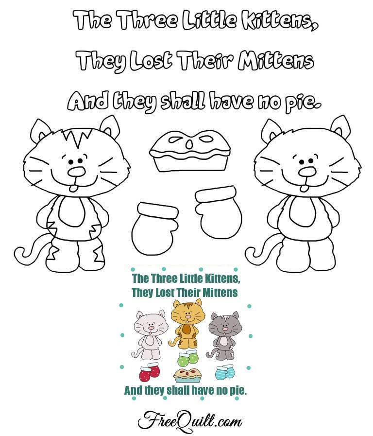 Three Little Kittens Lost Their Mittens Outline, Template