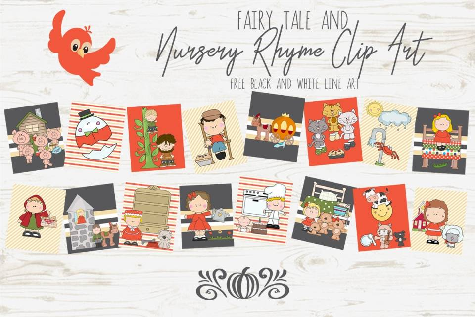 16 Nursery Rhyme and Fairy Tale line drawings, applique patterns, printables
