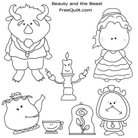 Beauty and the Beast – Clip Art for Coloring, Crafts, Quilts